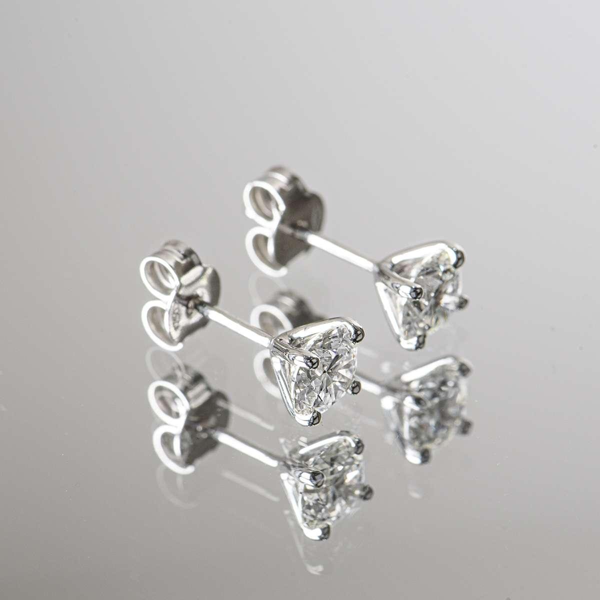 White Gold Round Brilliant Cut Diamond Earrings 1.49ct TDW